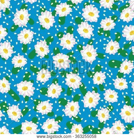 White Daisies Seamless Vector Pattern On Vibrant Blue. Springtime Blooms Surface Print Design. For G