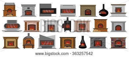 Fireplace Isolated Cartoon Set Icon. Vector Illustration House Hearth On White Background. Vector Ca