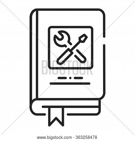 Technics Repair Book Black Line Icon. Course About Technical And Repair Knowledge. Pictogram For Web