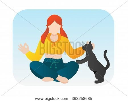 Girl Doing Yoga With Cat Vector Cartoon Character. Woman Meditating With Home Animal Isolated On Whi