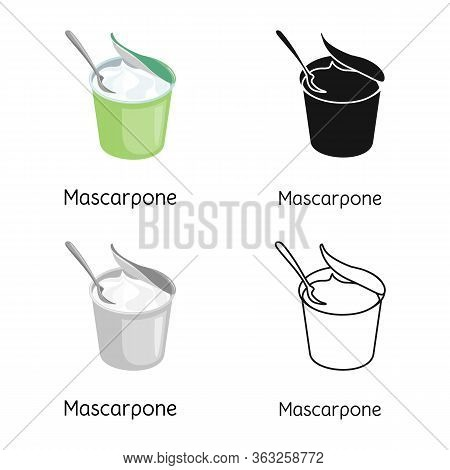 Vector Design Of Mascarpone And Cheese Icon. Graphic Of Mascarpone And Meal Stock Symbol For Web.