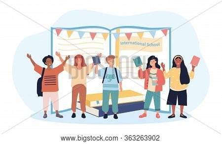Happy Group Of Multiracial Students Waving And Cheering In Front Of An Open Book At An International