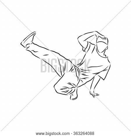 Break Dancer-continuous Line Drawing. Break Dance, Dancer, Vector Sketch Illustration