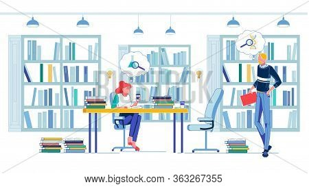 Searching For Answer In Encyclopedia, Book, And Guide. Medical Student Solving Chemistry And Human B