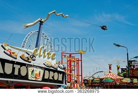 Vienna, Austria - June 4, 2019: The Prater, The Famous Old Amusement Park That Is Best Known For Its