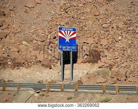 Welcome To Arizona Sign Near Hoover Dam