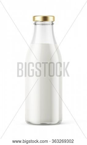 Closed Glass Milk bottle isolated on white - realistic 3d illustration