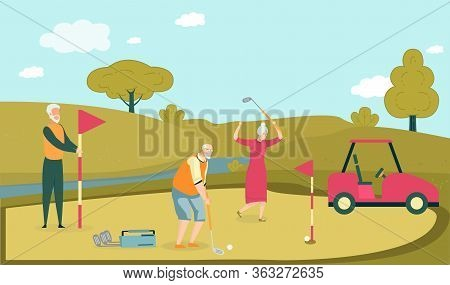 Company Old Friend Playing Golf In Special Field. Woman And Two Man On Golf Course. Player Gently Hi