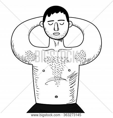 Chubby Guy With Hairy Chest Sunbathes In Swimming Trunks. Man Lying With Eyes Closed. Relax. Black A