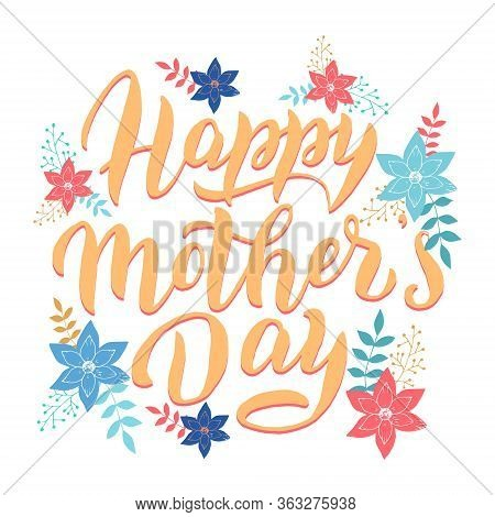 Happy Mother's Day Postcard. Greeting Lettering Font Text. Celebration Banner, Poster, Mother Day Te