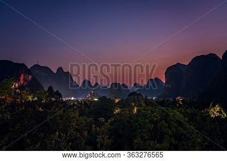 Beautiful Impressive Karst Mountain Landscape In Yangshuo After Sunset, Guangxi Province, China