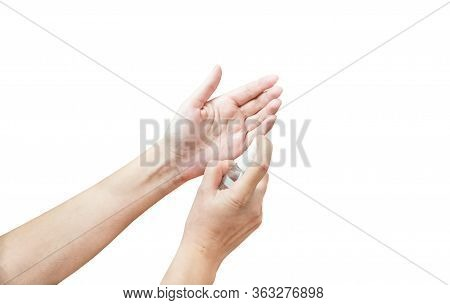 Use Of Antiseptic Hand Spray On A White Background