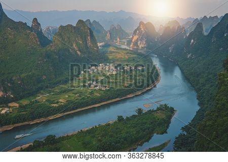 Xianggong Hill Viewpoint Panorama Of Beautiful Green, Lush And Dense Karst Mountain Landscape In Yan
