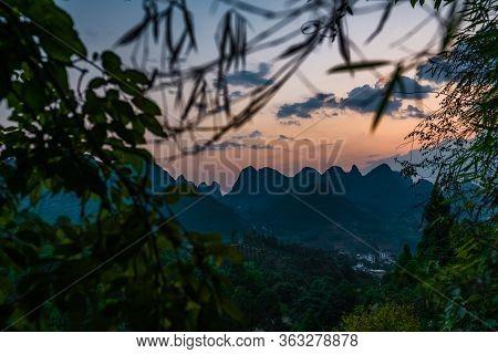 Xianggong Hill Viewpoint View Of Beautiful Green, Lush And Dense Karst Mountain Landscape In Yangshu