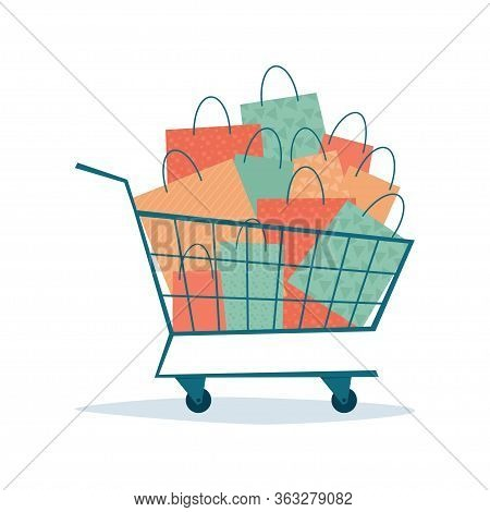 Overflowing Shopping Cart With Paper Bags. Symbol Of Sales And Discounts. Black Friday. Vector Illus