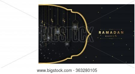 Lantern Background With The Theme Of Ramadan Kareem. Design Greeting Card, Invitation For Muslim Hol