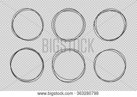 Set Of Hand Drawn Circle Line Sketch Set. Doodle Vector Circular Scribble Round Circles For Message