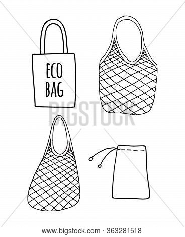 Vector Set Bundle Of Hand Drawn Doodle Sketch Shopping Reusable Grocery Cloth String Mesh Cotton Eco