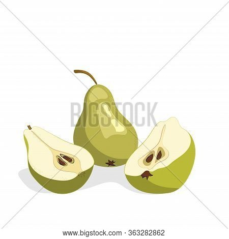 Green Pears With Slices Of Pears. Vector Illustration Of Pear. Vector Illustration For Decorative Po