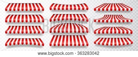 Realistic Striped Shop Sunshade. Store Awning. Shop Tent Isolated Set. Vector Illustration.