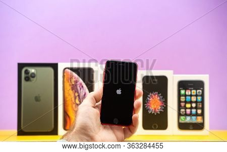 Paris, France - Apr 26, 2020: Apple Logo On The Se 2020 Smartphone Version With Multiple Packages Ca