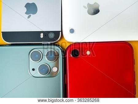 Paris, France - Apr 26, 2020: 11 Pro, 2016 Se, 3gs Next To New Budget Iphone Se By Apple Computers T