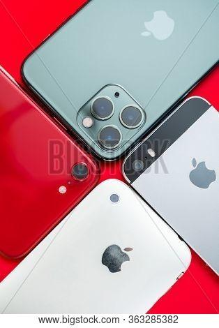 Paris, France - Apr 26, 2020: Vertical Image Of 11 Pro, 2016 Se, 3gs Next To New Budget Iphone Se By