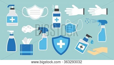 Disinfection. Hand Hygiene. Set Of Hand Sanitizer Bottles, Washing Gel, Spray, Wipes, Liquid Soap, G