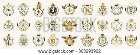 Classic Style Emblems Big Set, Ancient Heraldic Symbols Awards And Labels Collection, Classical Hera