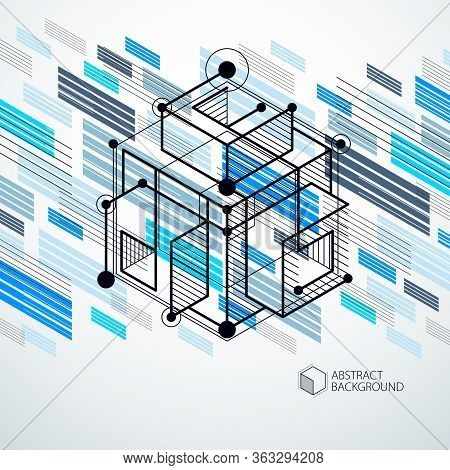 Trendy Geometric Vector Pattern, Textured Abstract Cube Mesh Blue Background. Technical Plan, Abstra
