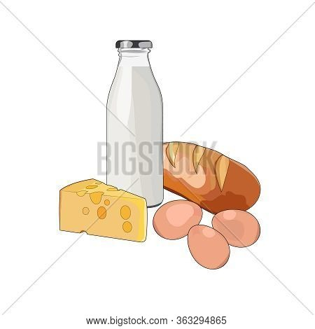 Healthy Breakfast Milk, Bread, Eggs, Cheese. Protein Farm Food. Vector Graphic Illustration Food Mil