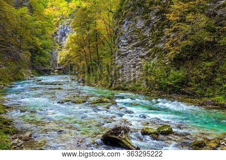 Bubbling and roaring foamy rapids, rocks and rifts. Slovenia. Vintgar gorge. Mountain river with azure water. The concept of active and photo tourism