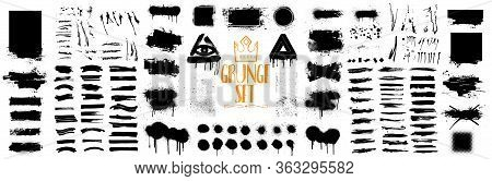 Diverse Set Of Black Paint, Great Elaboration, Spray Graffiti Stencil Template Ink Brush Strokes, Br