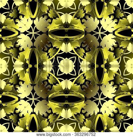 Baroque 3d Seamless Pattern. Ornamental Vector Leafy Background. Repeat Floral Backdrop. Surface Bar