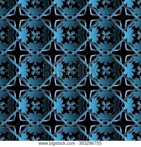 Baroque 3d Seamless Pattern. Ornamental Vector Background. Repeat Floral Backdrop. Surface Baroque V