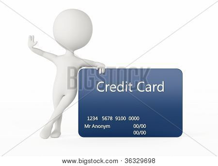 3d humanoid character with a blue credit card poster