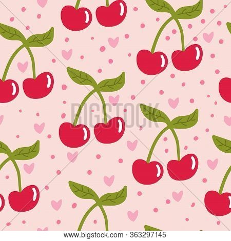 Cartoon Cherry Seamless Pattern With Hearts And Dots.  Fruit Background. Wrapping Paper, Textile, Co