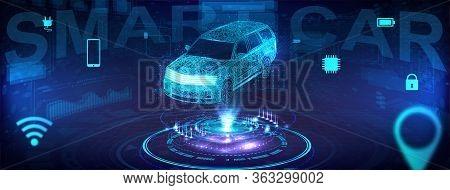 Smart Auto Banner. Electric Machine. Autonomous Car Vehicle With Infographic. Autonomous Car With Ic