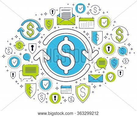 Dollar Sign And Loop Arrow, Currency Exchange, Return On Investment, Insurance Concept, Refund, Stoc