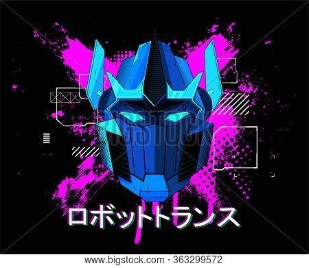 Blue Transformer Art For T-shirt And Merch Design. Colorful Modern Illustration Transformer Head Wit