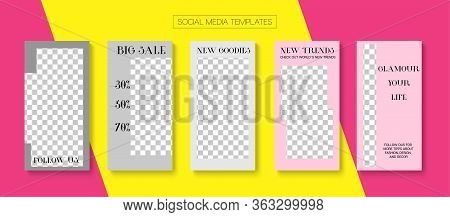 Social Stories Cool Vector Layout. Online Shop Luxury Invitation Advert. Blogger Minimal Frame, Soci