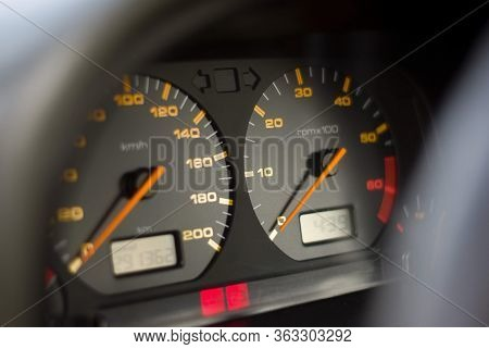 Close Up Of Passenger Car Dashboard With Indicator In Kilometers