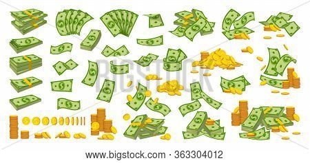 Money Pile Coin Stack Flat Cartoon Set. Gold Coins Heap, Bank Currency Sign Falling. Hundreds Dollar
