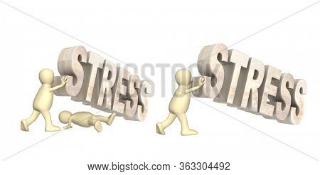 Concept of help in stress. Stressed and frustrated. 3d man crushed by the stone word stress, puppet raises a stone word stress. Isolated on white background. 3d render