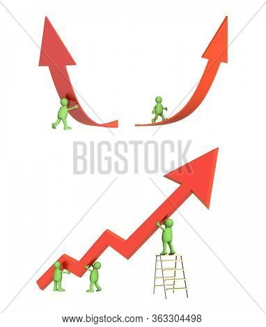 Success concept. Three green puppets, supporting the diagram, showing positive results, 3d man supporting an arrow, puppet going on a rising red arrow. Isolated on white background. 3d render