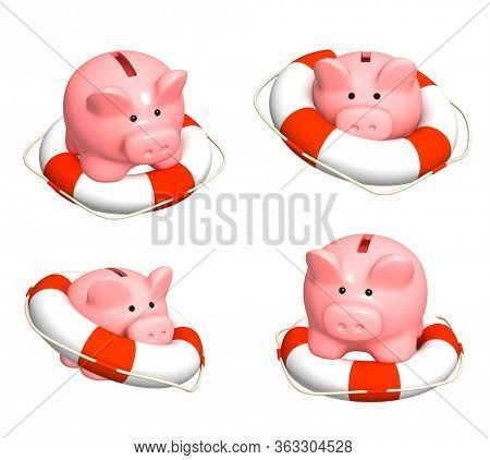 Concept - help in financial recession. Deposit insurance. Piggy bank and lifebuoy. Isolated on white background. 3d render