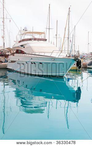 White Yacht In A Moorage