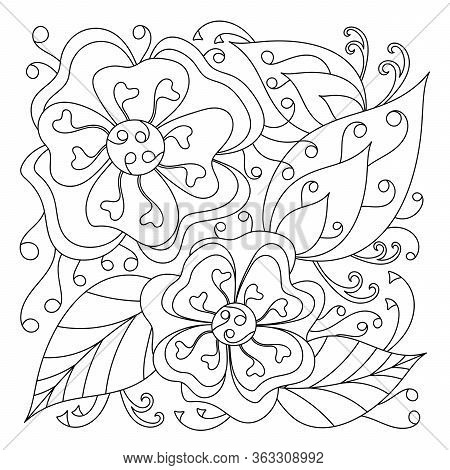 Pattern With Flowers For Coloring Book, Curved Doodle Of Leaves. The Mehndi Design. Monochrome Textu