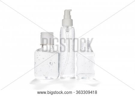 Transparent hand sanitizers for personal hygiene isolated on white background.   Hand sanitizers can slow the spread of COVID-19.