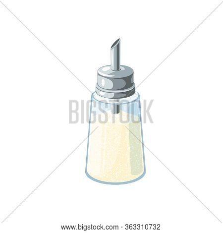 Sugar Dispenser Full Of Refined Sugar. Vector Illustration Flat Cartoon Icon Isolated On White Backg